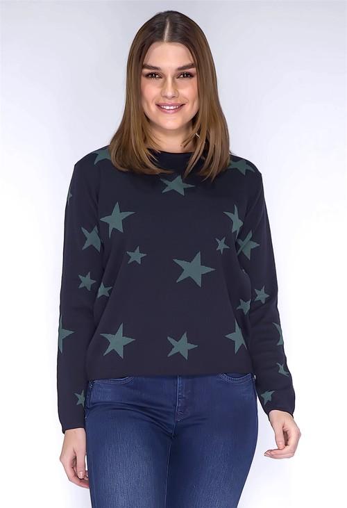 Twist Navy and Green Star Print Knit