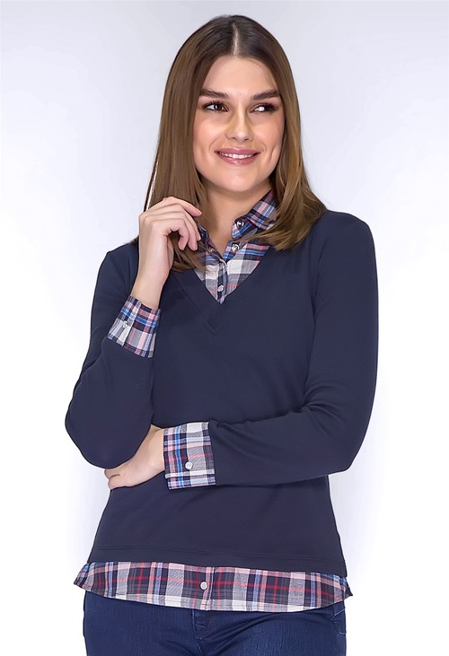 Twist Navy Top with Checked Shirt Details
