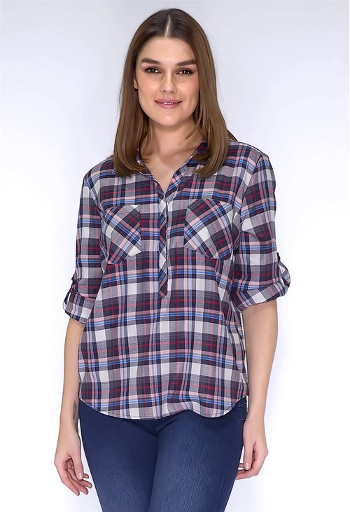 Twist Navy Checked Shirt