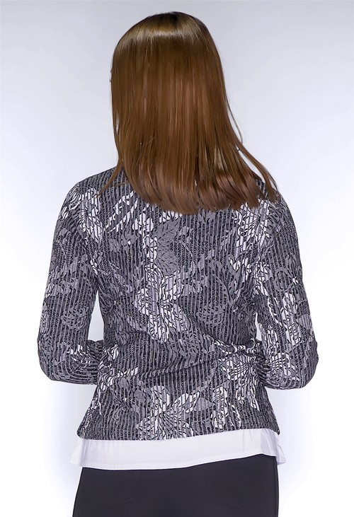 Sophie B Grey Floral Print Wrap Top with Shirt Details