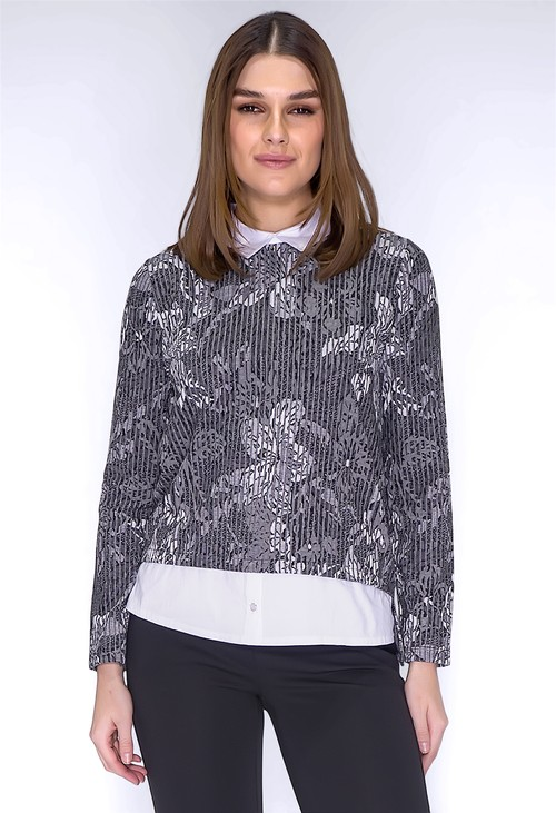 Sophie B Grey Floral Print Top with Shirt Details