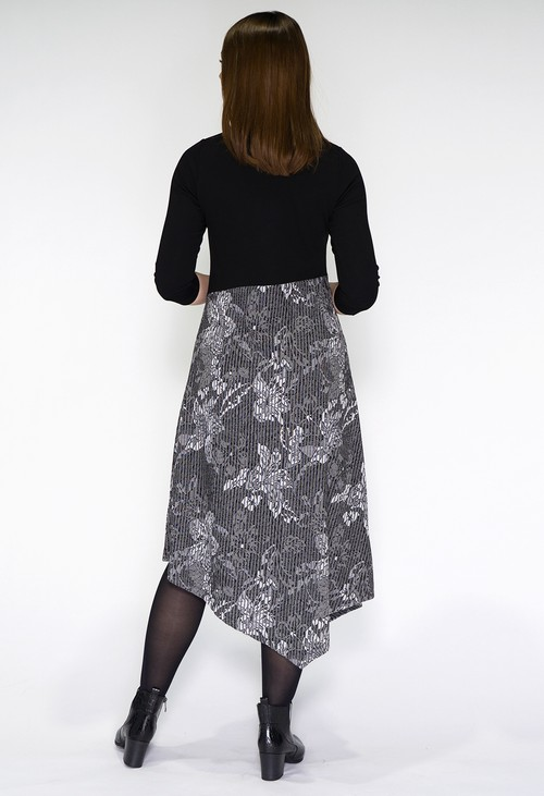 Sophie B Black and Grey Printed Dress