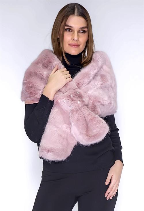 PS Accessories Pink Faux Fur Stole