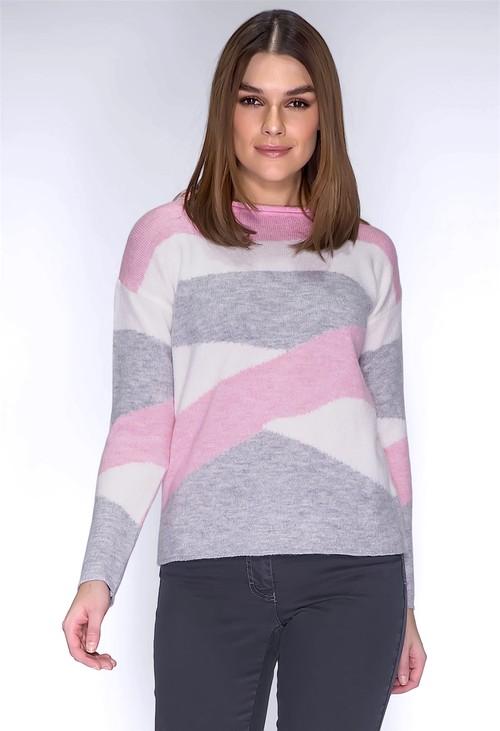 Twist Light Grey Swirl Knit Jumper
