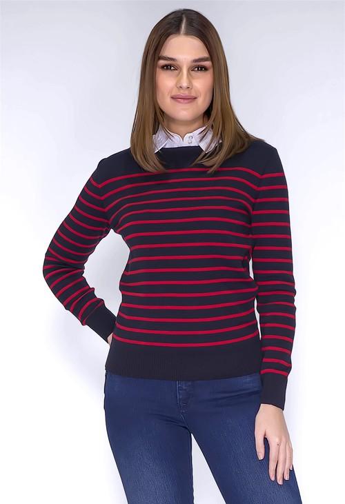 Twist Navy Stripe Top