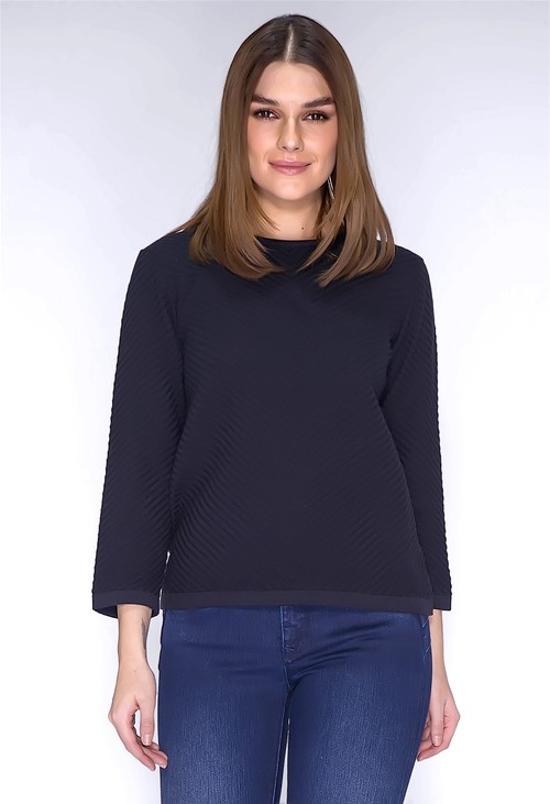 Twist Navy Ribbed Knit Pullover