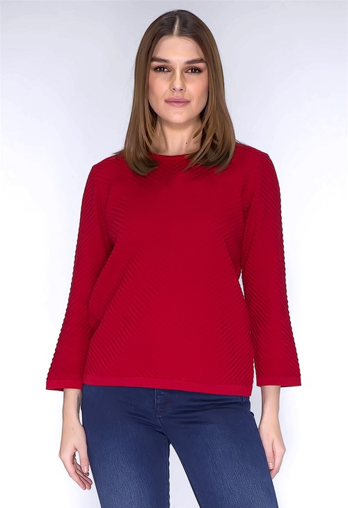 Twist Red Ribbed Knit Pullover
