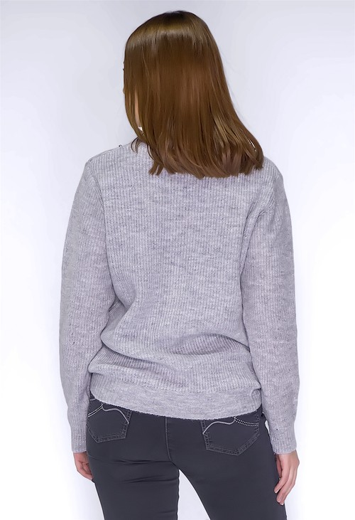 Twist Light Grey Knit Jumper with Silver Pearls