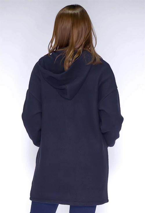Twist Thick Knit Long Navy Cardigan