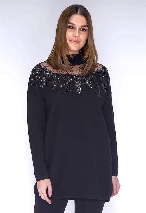 Pamela Scott Black Sequin Long Line Knit