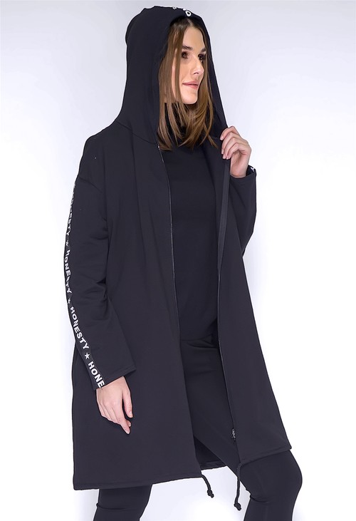Zapara Long Black Logo Strap Jacket