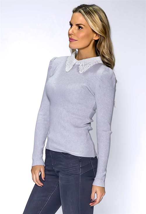 Pamela Scott Light Grey Ribbed Knit Top with Lace Collar