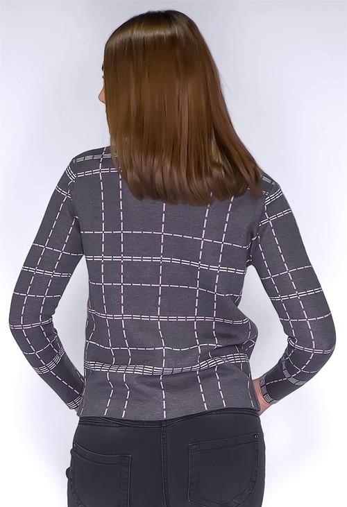 Twist Dark Grey Zip Up Printed Cardigan