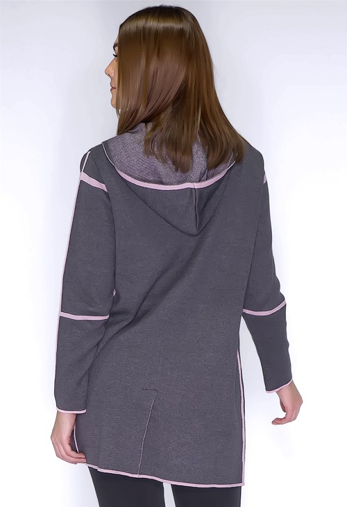 Twist Grey and Rose Double Knit Cardigan