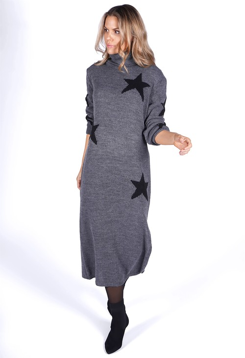 Zapara Dark Grey Knit Star Midi Dress