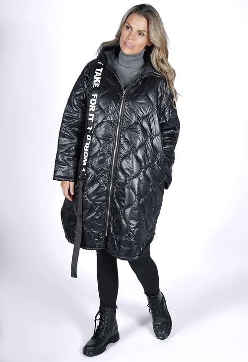 Zapara Quilted Black Strap Coat