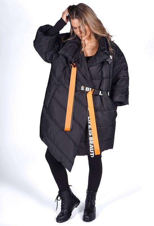 Pamela Scott Oversized Black Belted Puffer Coat