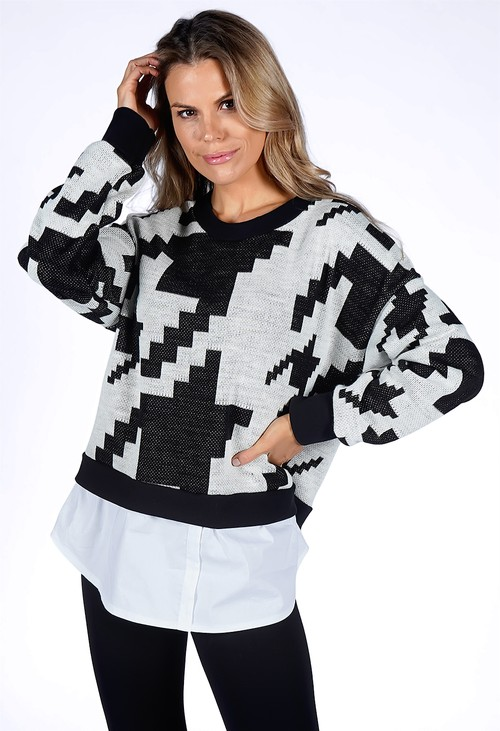 Pamela Scott Beige Geometric Design Knit Pullover with Shirt Details