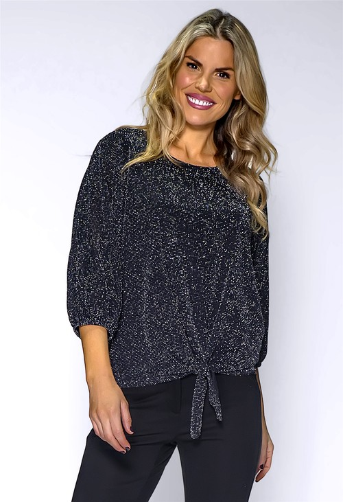 Pamela Scott Black Glittered Top with Tied Hemline
