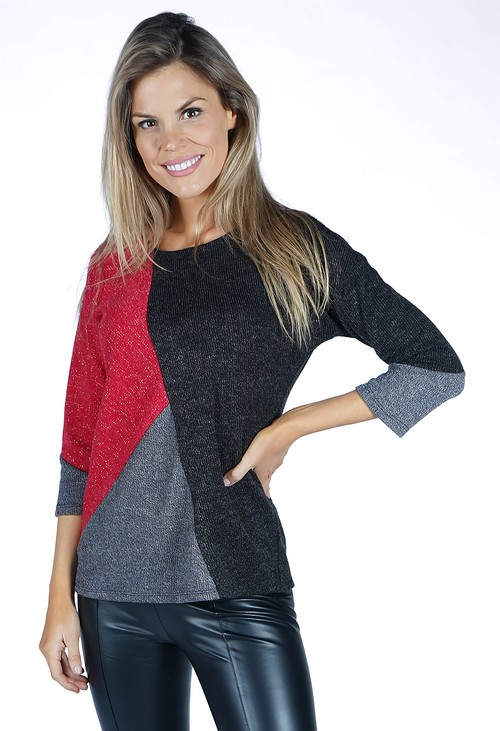 Sophie B Charcoal Panelled Knit Top