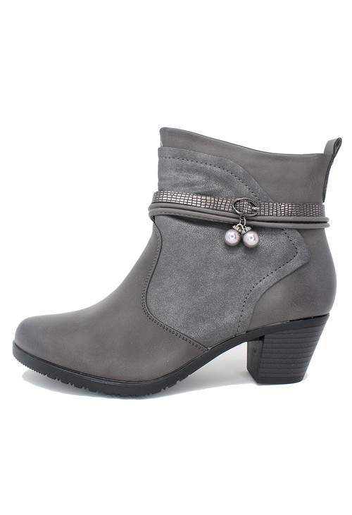Shoe Lounge Grey Block Heel Plain Front Ankle Boot