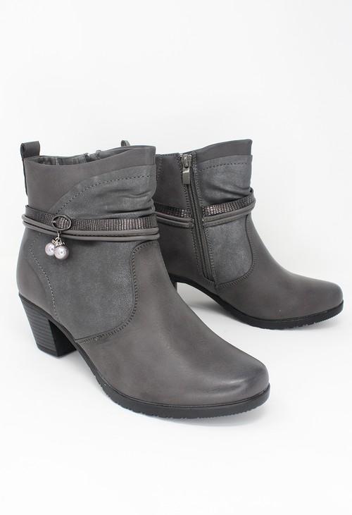 Shoe Lounge Grey Block Heel Plain Front Ankle Boot