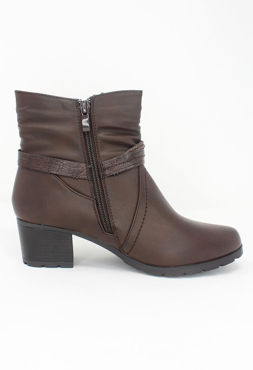 Shoe Lounge Brown Block Heel Plain Front Ankle Boot