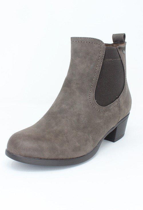 Shoe Lounge Brown Block Heel Chelsea Style Ankle Boot