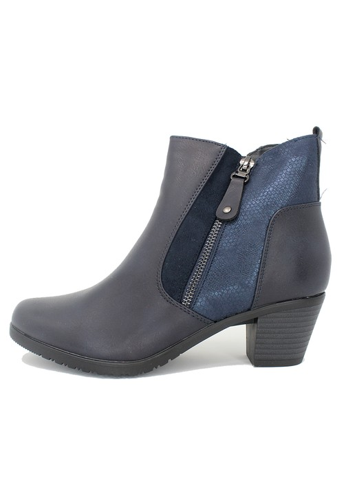 Shoe Lounge Navy Block Heel Plain Front Ankle Boot
