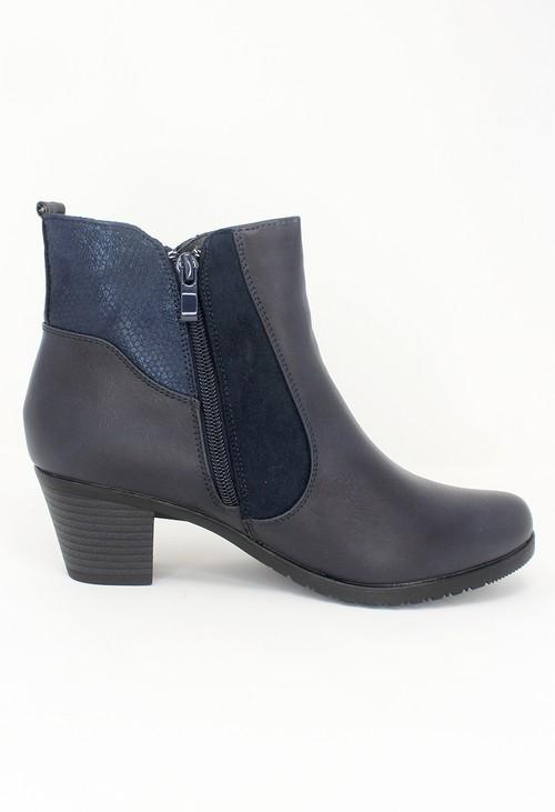 Shoe Lounge Navy Block Heel Plain Front Ankle Boot