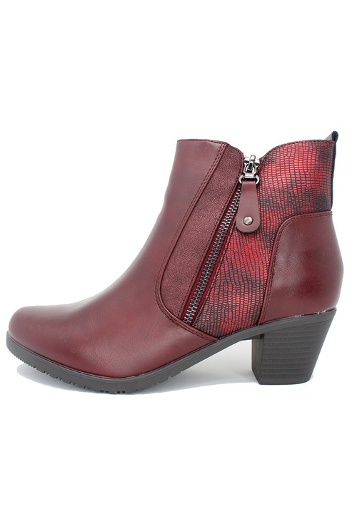 Shoe Lounge Bordeaux Block Heel Plain Front Ankle Boot