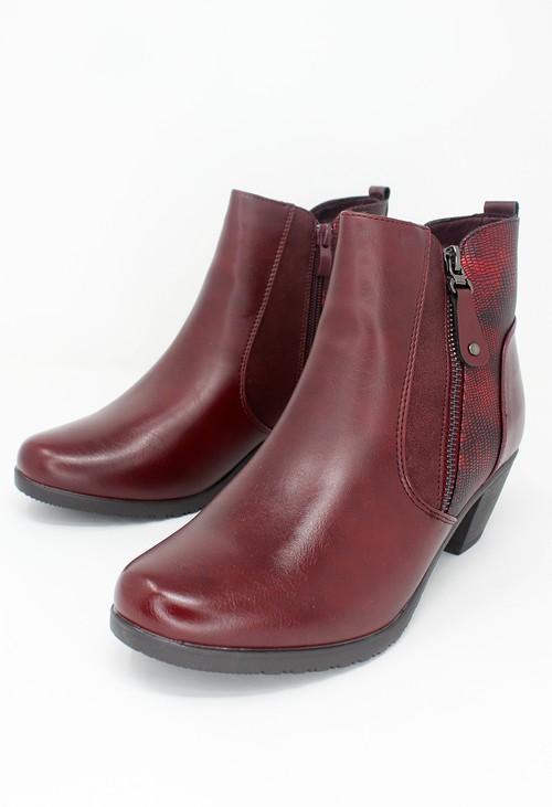 Shoe Lounge Bordeaux Block Heel Plain Front Ankle Boot