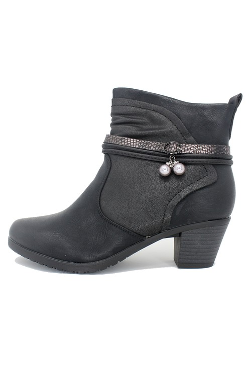 Shoe Lounge Black Block Heel Plain Front Ankle Boot