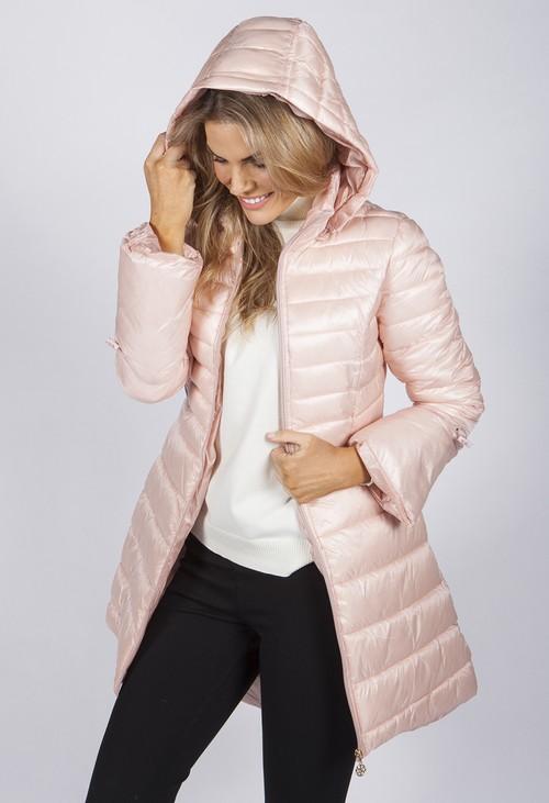 Pamela Scott Stylish Pink Puffer Coat