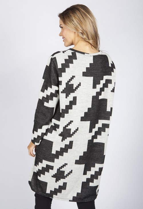 Pamela Scott GEOMETRIC DESIGN KNIT LONG TOP WITH ZIP DETAILS