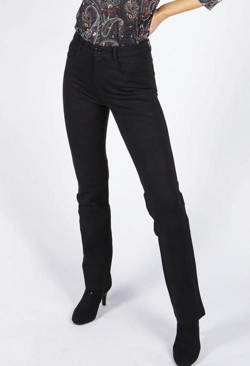 Pamela Scott Straight Leg Black Trousers with Stitching Details on Back Pockets