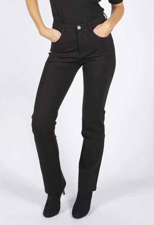 Pamela Scott Straight Leg Black Trousers with Back Pocket Details