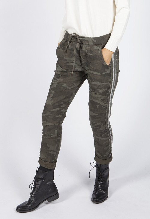 Pamela Scott Khaki Camouflage Joggers with Silver Glitter Stripes