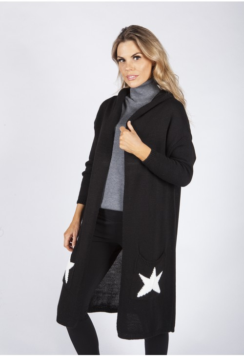 Zapara Black Hooded Star Knit Cardigan