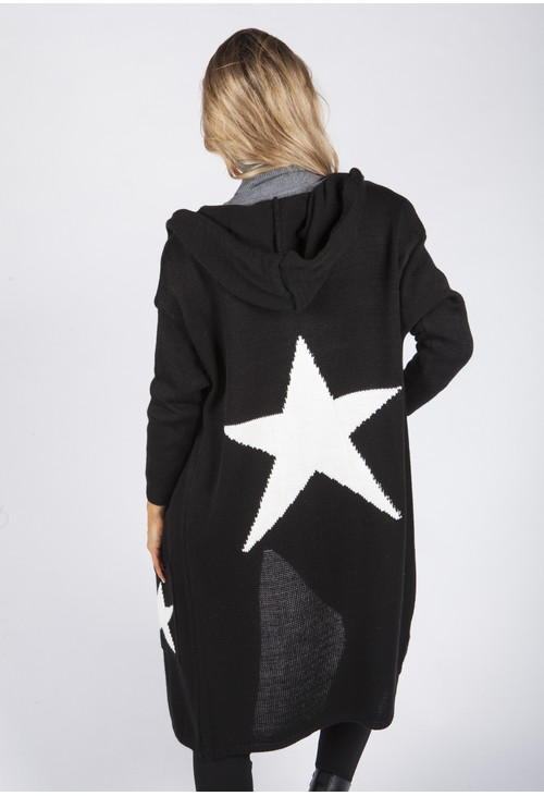 Zapara Black Hooded Star Knit Cardigan