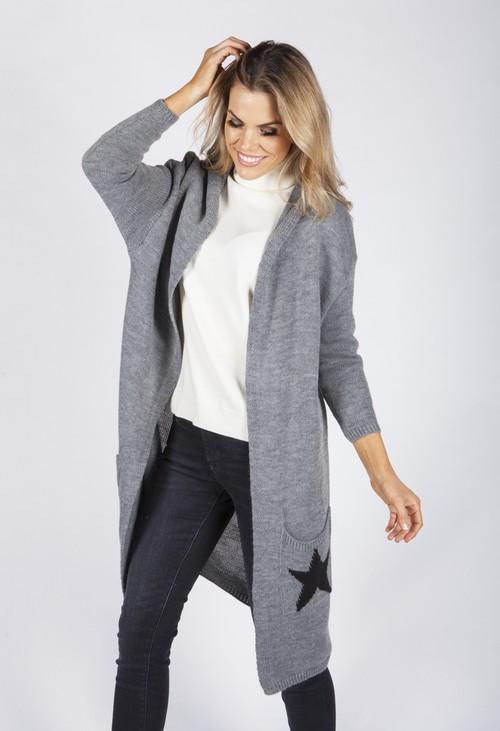 Zapara Dark Grey Hooded Star Knit Cardigan
