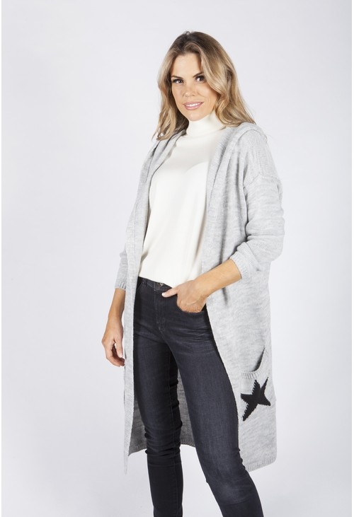 Zapara Light Grey Hooded Star Knit Cardigan
