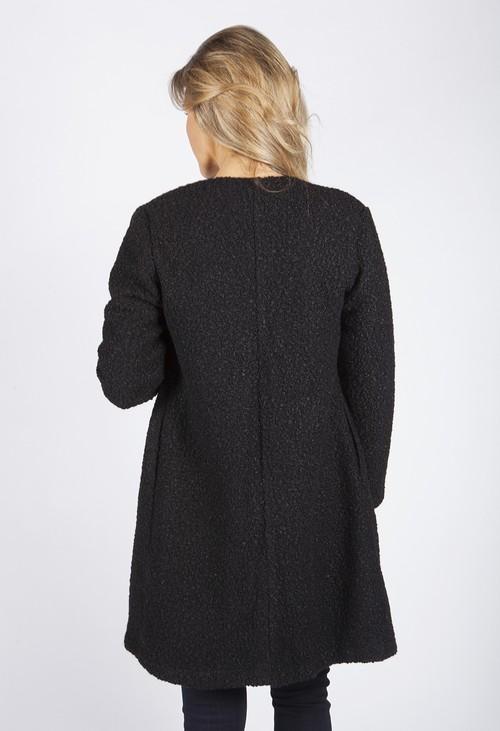 Zapara Charcoal Boucle Open Long Line Coat
