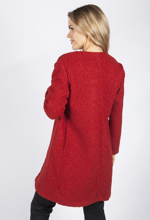 Zapara Red Boucle Open Long Line Coat