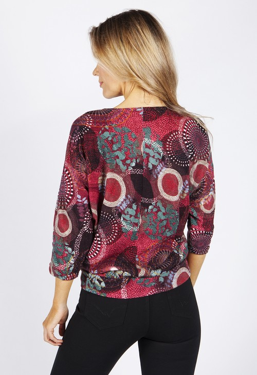 Zapara Circle Print Tied Hem Batwing Top