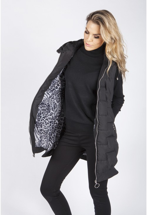 Zapara Black Quilted Gilet with Animal Print Lining