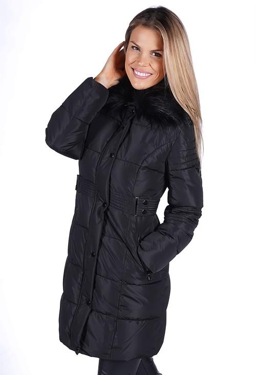 Pamela Scott Black Belted Coat with Detachable Faux Fur Collar