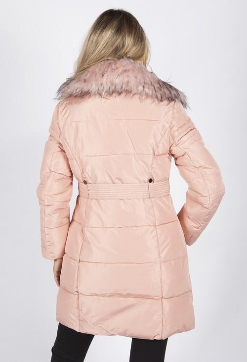 Pamela Scott Pink Belted Coat with Detachable Faux Fur Collar