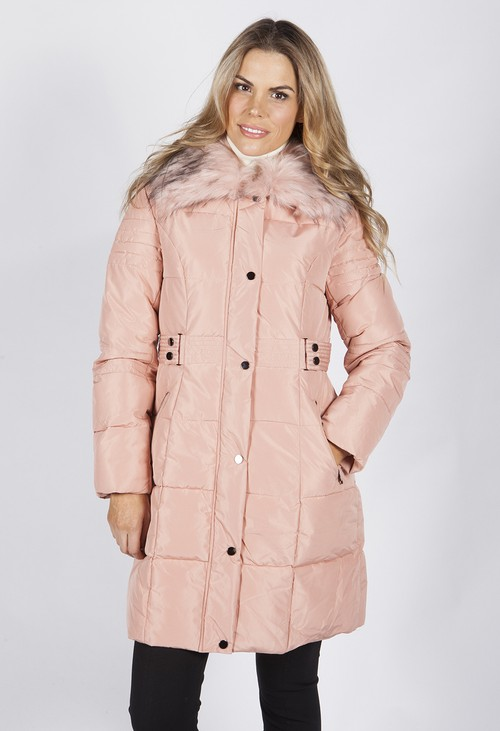 Pamela Scott Pink Belted Coat with Detachable Faux Fur Collar