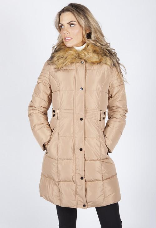 Pamela Scott Beige Belted Coat with Detachable Faux Fur Collar